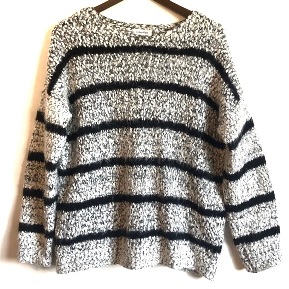 CALVIN KLEIN Soft Cozy Stripe Sweater Shirt Grey